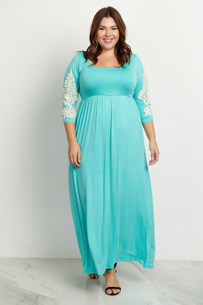 Mint Green Crochet Sleeve Plus Maxi Dress