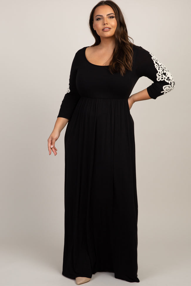 Black Crochet Sleeve Plus Maternity Maxi Dress