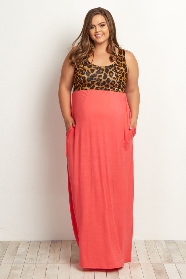 Coral Cheetah Plus Size Maternity Maxi Dress