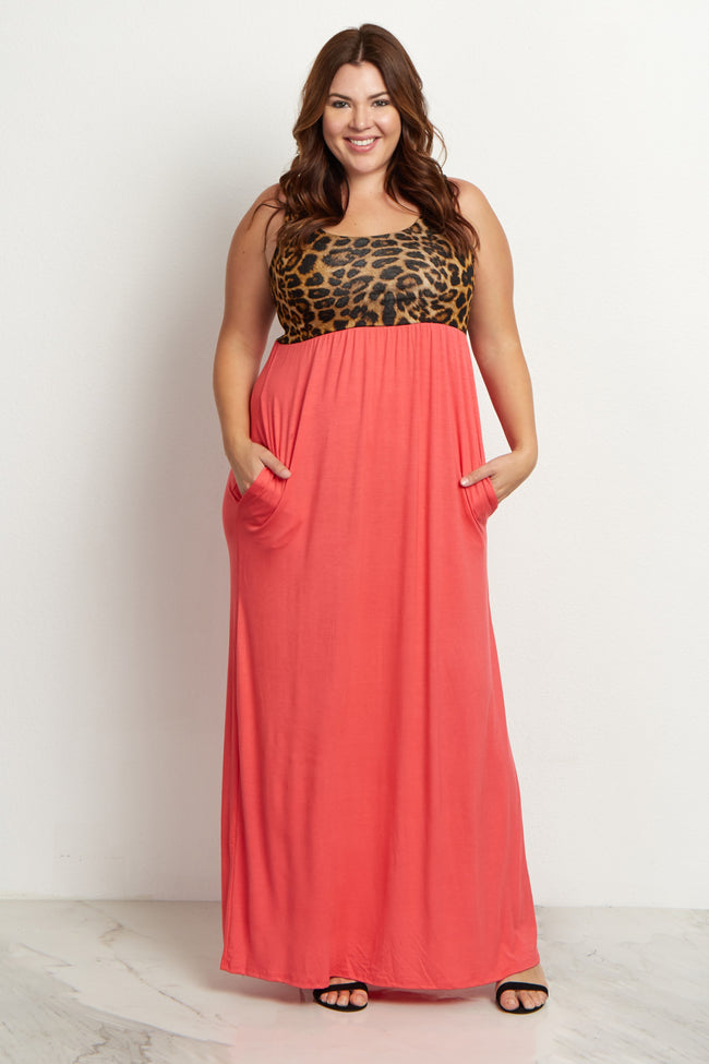 Coral Cheetah Plus Size Maxi Dress