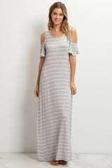 Grey Striped Cold Shoulder Maxi Dress