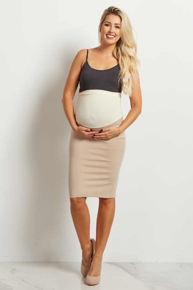 Beige Fitted Maternity Pencil Skirt