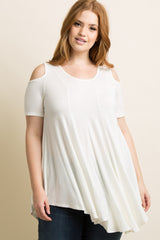 Ivory Cold Shoulder Maternity Plus Tunic