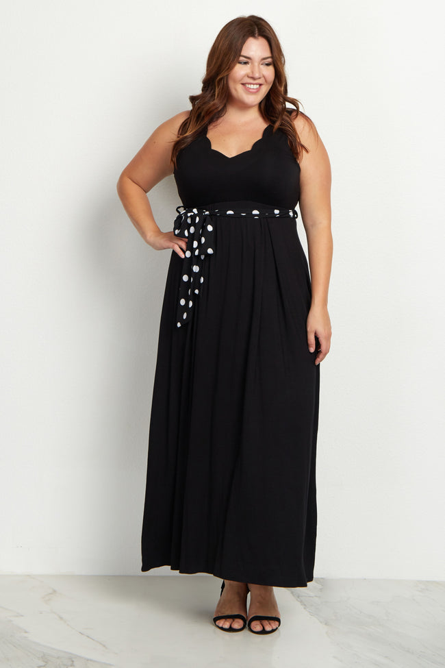 Black Polka Dot Sash Tie Plus Maxi Dress