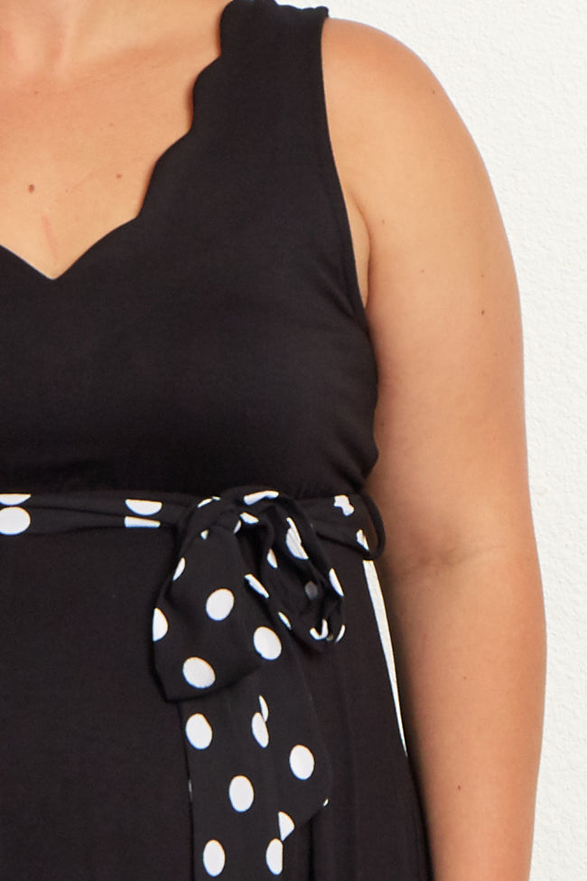 Black Polka Dot Sash Tie Plus Maternity Maxi Dress