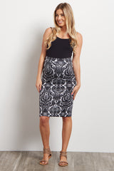 Black Floral Printed Maternity Pencil Skirt