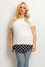 White Polka Dot Accent Plus Size Maternity Top