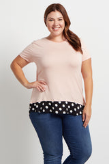Light Pink Polka Dot Accent Plus Size Top