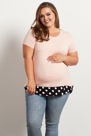 Light Pink Polka Dot Accent Plus Size Maternity Top