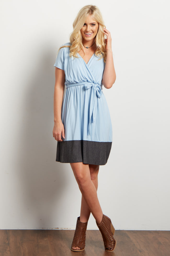 Blue Colorblock Draped Sash Tie Short Sleeve Maternity Dress