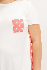 Coral Polka Dot Accent Plus Size Maternity Top