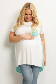 Mint Green Polka Dot Accent Plus Size Maternity Top