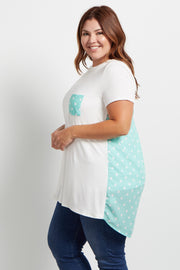 Mint Green Polka Dot Accent Plus Size Top