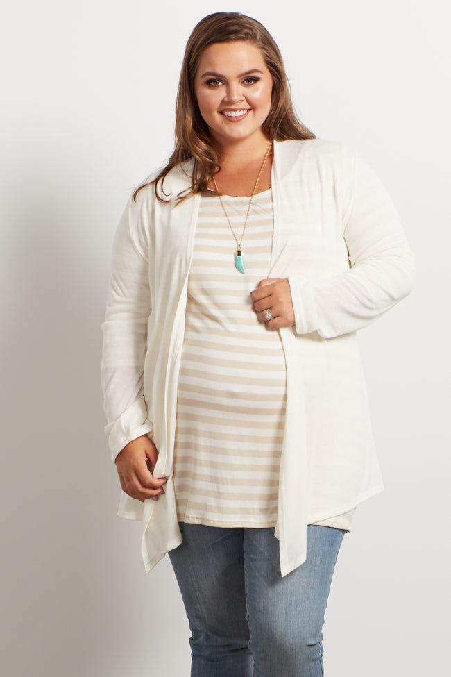 Cream Basic Plus Size Maternity Cardigan