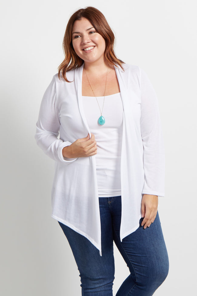 White Basic Plus Size Cardigan