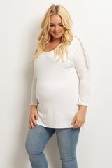 Ivory Chevron Accent Plus Size Maternity Top