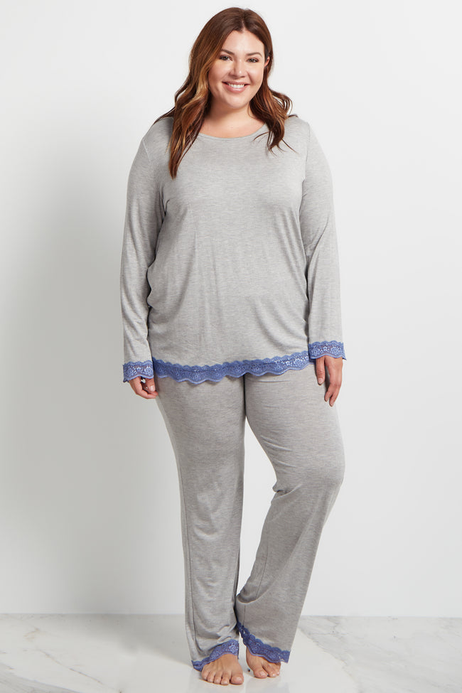 Blue Lace Trim Plus Maternity Pajama Bottoms