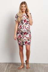 Olive Floral Fitted Maternity Dress