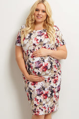 Olive Floral Fitted Plus Size Maternity Dress