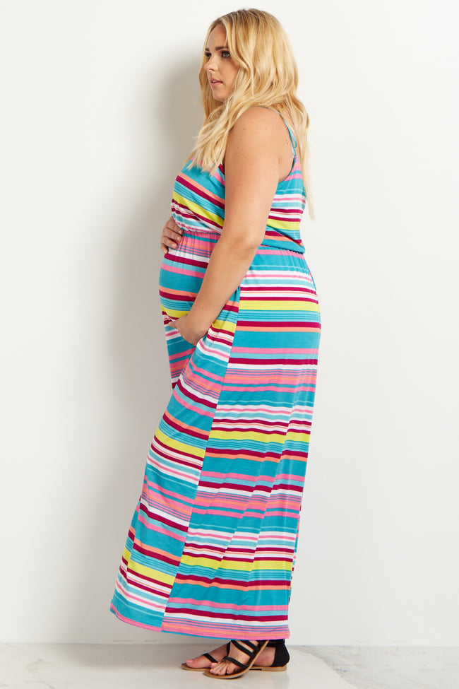 Teal Alternating Stripes Plus Size Maternity Maxi Dress