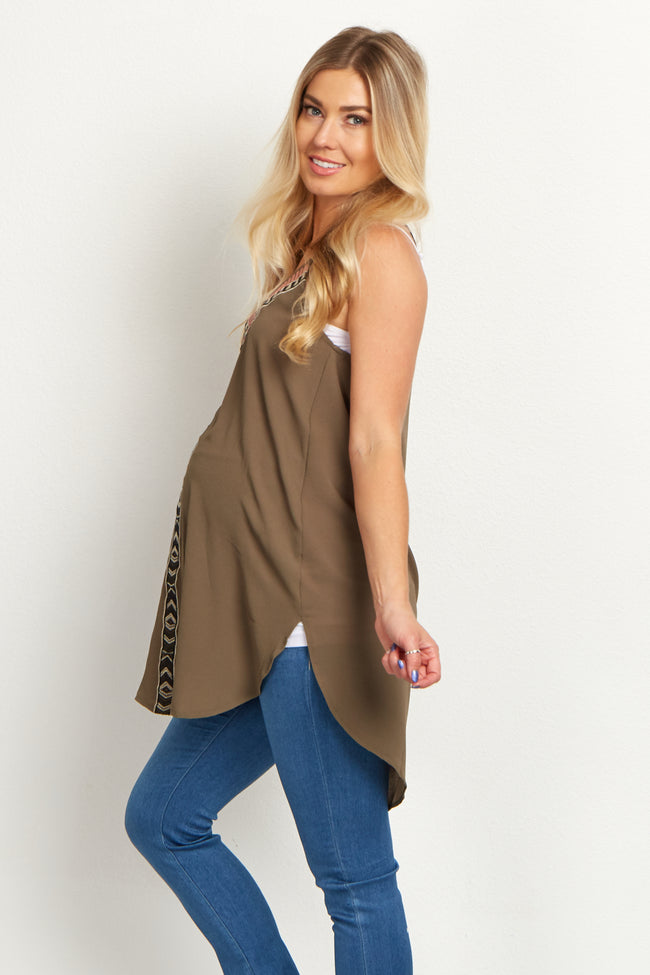 Olive Tribal Maternity Tunic