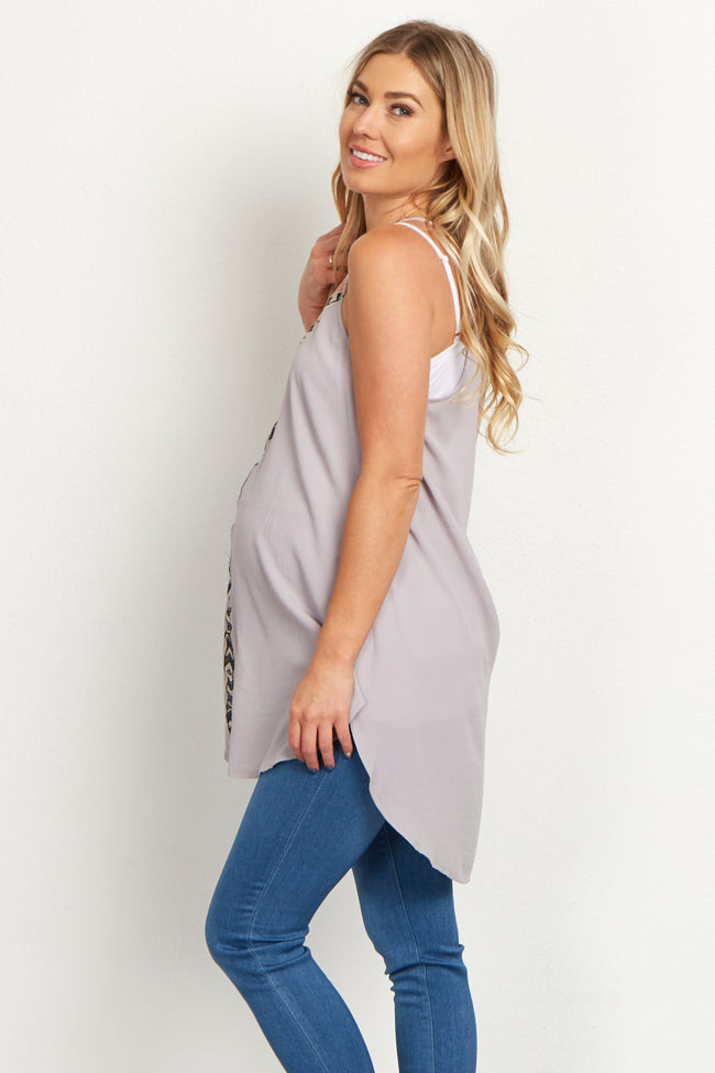 Taupe Tribal Maternity Tunic