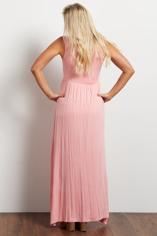 Light Pink Basic Sleeveless Maternity Maxi Dress