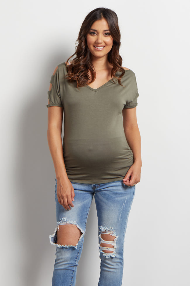 Olive Cutout Cold Shoulder Maternity Top