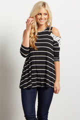 Black Striped Open Shoulder Crochet Accent Maternity Top