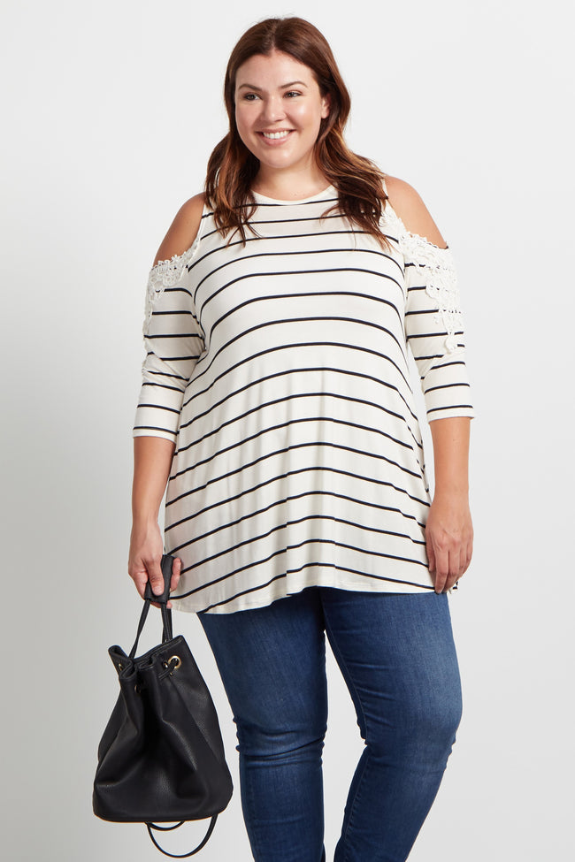 Ivory Striped Cold Shoulder Plus Size Maternity Top