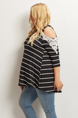 Black Striped Cold Shoulder Plus Maternity Top