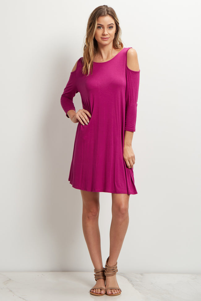 Magenta Cold Shoulder Dress