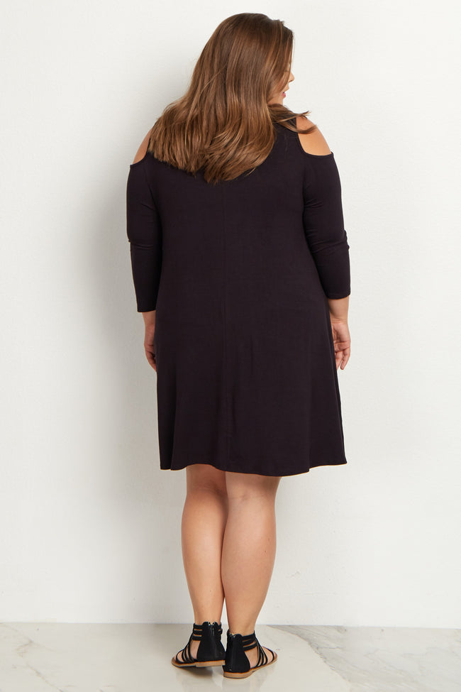 Black Cold Shoulder Plus Size Maternity Dress
