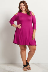 Magenta Cold Shoulder Plus Size Maternity Tunic/Dress