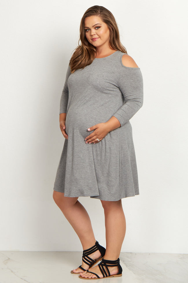 Grey Cold Shoulder Plus Size Maternity Tunic/Dress