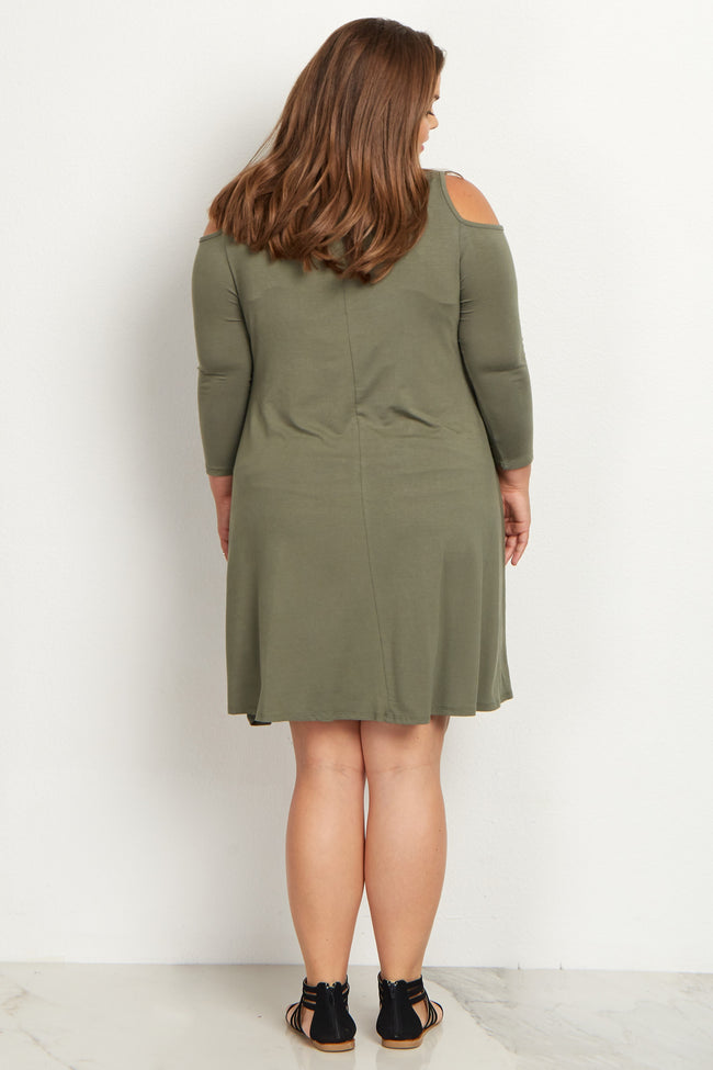 Olive Cold Shoulder Plus Size Maternity Dress