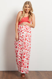 Coral Floral Bottom Maternity Maxi Dress