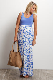 Blue Floral Bottom Maternity Maxi Dress