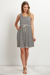 Black Striped Cinched Maternity Dress