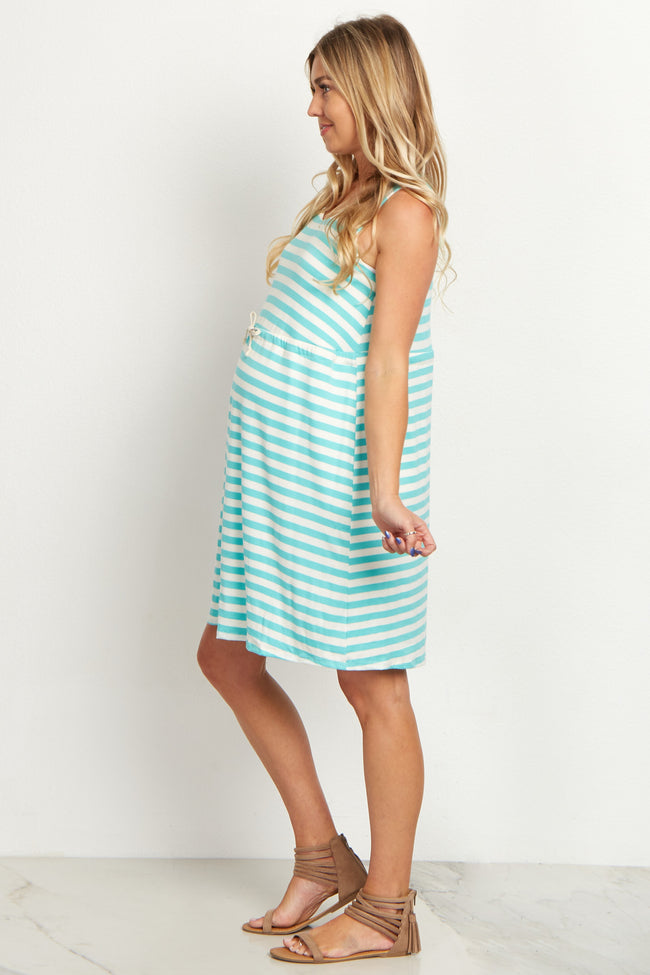Blue Striped Cinched Maternity Dress
