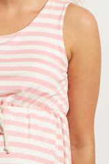 Pink Striped Cinched Maternity Dress