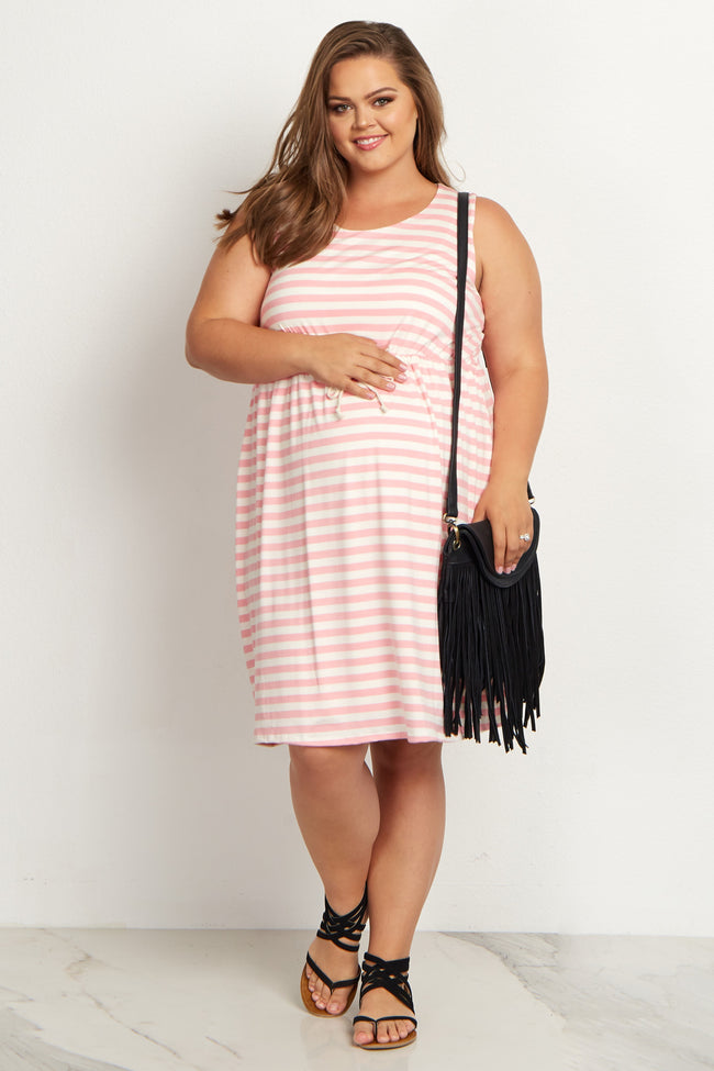 Pink Striped Cinched Plus Size Maternity Dress