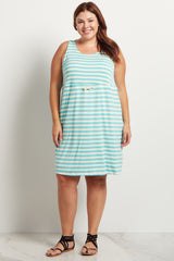 Mint Green Striped Cinched Plus Size Maternity Dress