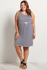 Navy Blue Striped Cinched Plus Size Dress