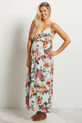 Mint Green Floral Maternity Maxi Dress