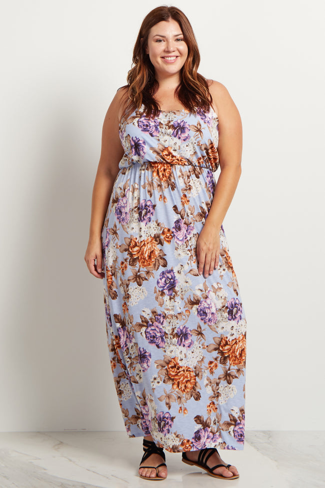 Blue Floral Plus Size Maxi Dress