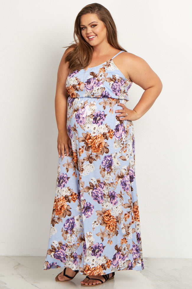 Blue Floral Plus Size Maternity Maxi Dress