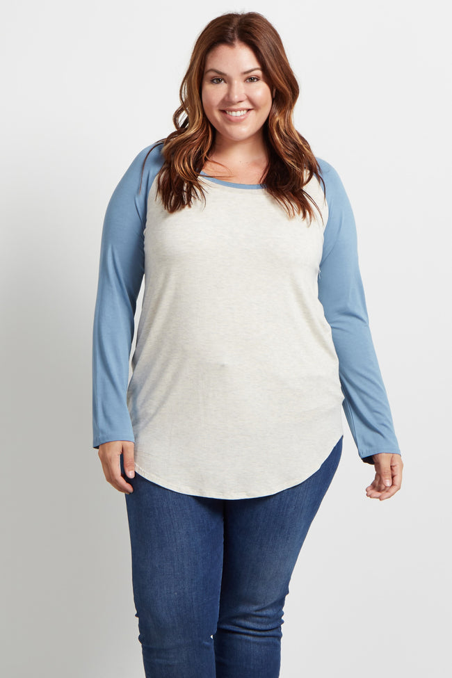 Blue Raglan Sleeve Plus Top