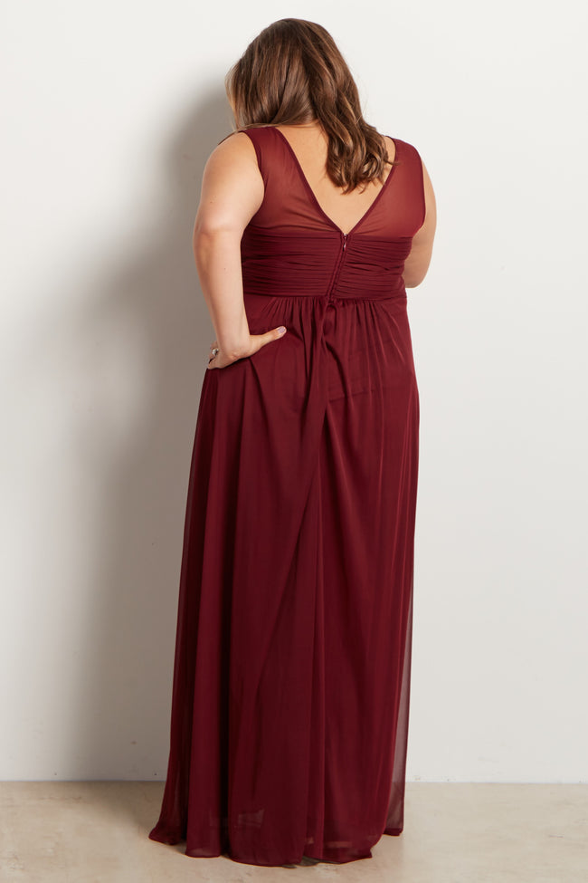 Burgundy Mesh Neckline Ruched Bust Plus Maternity Evening Gown