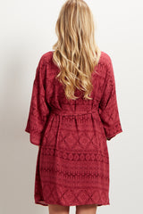 Magenta Printed Delivery/Nursing Maternity Robe